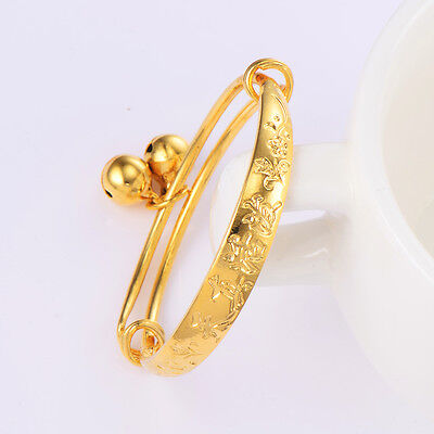 Kids child baby Bell bracelet toddler jewelry 14K gold plated bangle Adjustable (Toddler Jewelry)