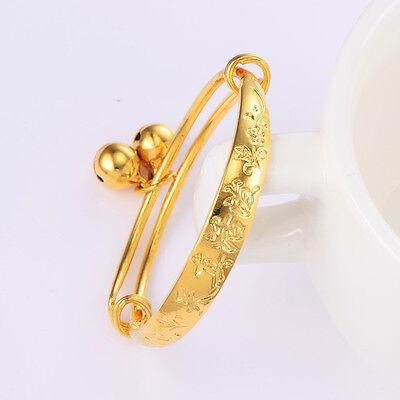 Kids child baby Bell bracelet toddler jewelry 14K gold plated bangle Adjustable