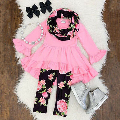 USA Chiffon Kids Baby Girls Outfits Clothes T-shirt Tops Dress +Floral - Winter Clothes Girls