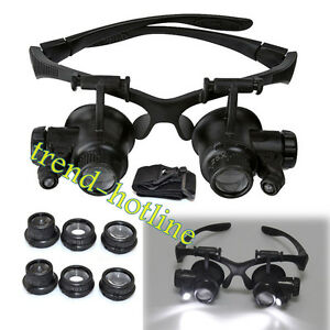 10 15x 20 25x Magnifying Jewellery Glasses Watchmaker Repair Tool With LED Light