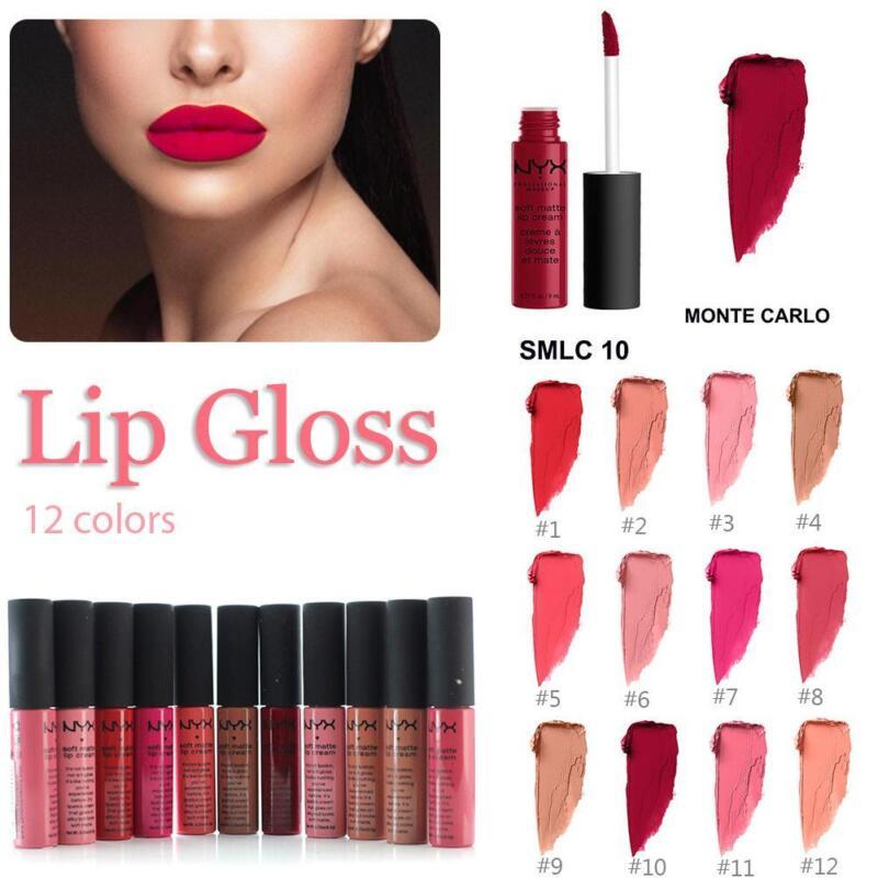 12 Farben Wasserfest Samt Lip Gloss Set lang Anhaltend Matt Lippenstift Kosmetik