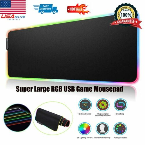Non-Slip Large Led RGB Mouse Pad XXL Extended Gaming Keyboar