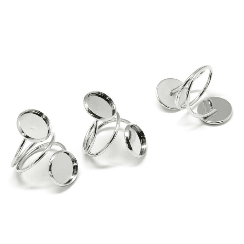 10pcs Iron Spiral Open Cuff Ring Blanks w/ 2 Bezel Setting Cups Silver 12mm Tray