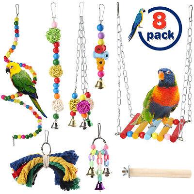 8pcs Bird Parrot Swing Toys Chewing Hanging Hammock Bell Pet Climbing Ladder Toy