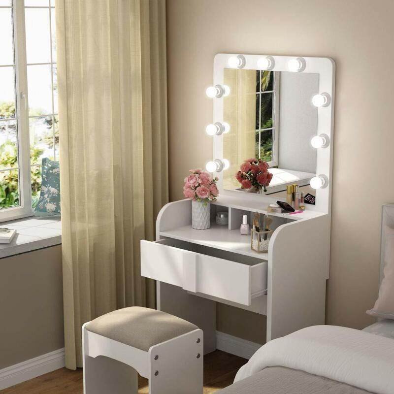 Bedroom Vanity Dressing Table Set Women Makeup Desk with Lighted Mirror & Drawer
