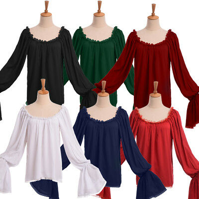 Retro Medieval SCA Women Pirate Blouse Off Shoulder Peasant Chemise Wench Shirt](Medieval Peasant Blouse)