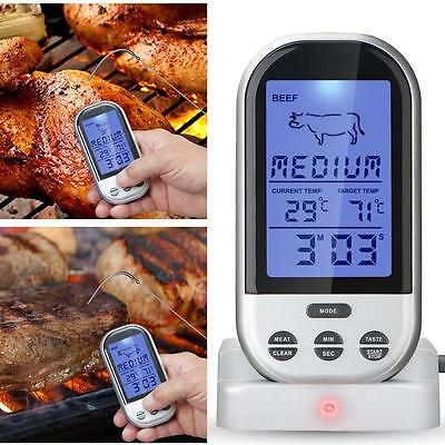 Wireless Thermometer  LCD Remote Probe BBQ Grill Meat Bake Kitchen Food Cook PKD