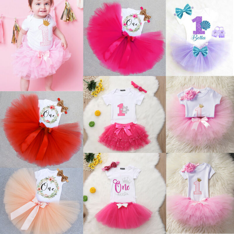 US Baby Girl Flower Headband Tutu Skirt Romper Photo Prop 1st Birthday Outfit
