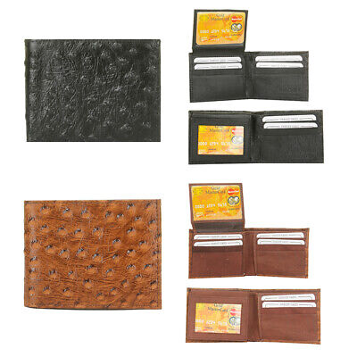 DBFL Men's Genuine Leather Ostrich Embossed Flip ID Bifold Wallet Embossed Leather Billfold