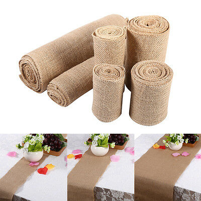 Lace Table Runner Hessian Jute Burlap Roll Vintage Wedding Party Chair Decor AF - Table Runner Rolls