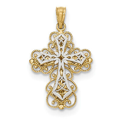 14k Two-tone Gold Polished 2 Level Filigree Cross Pendant K5454 14k Filigree Cross Pendant