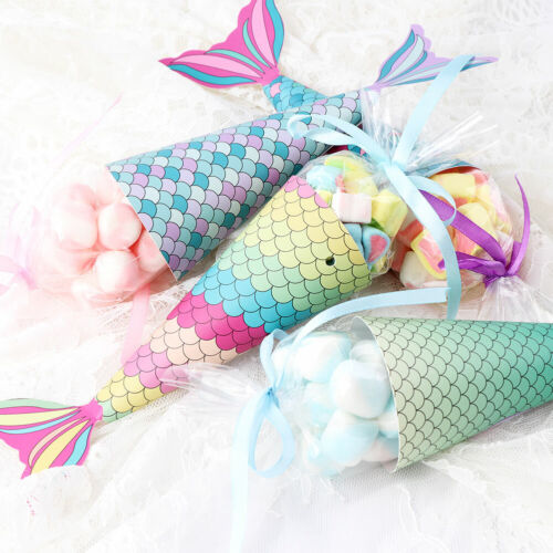 12x Paper Mermaid Gift Bags for Kids Birthday Favor Little M