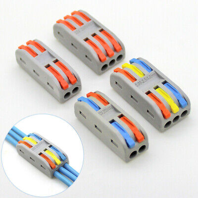 10pcs Reusable Spring Lever Terminal Block Electric Cable Connector Wire 23 Way