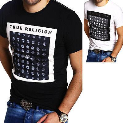TRUE RELIGION Herren T-Shirt BUTTON RIVET Weiß/Schwarz Rundhals Brand Jeans NEU (True Religion Shirt Schwarz)