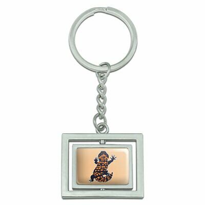 Used, Gila Monster Pixel Lizard Spinning Rectangle Chrome Plated Metal Keychain for sale  Shipping to Canada
