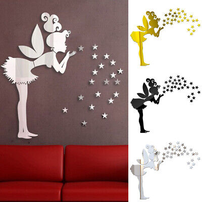 Home Decoration - 3D Fairy Girls Mirror Wall Sticker Art Mural Decal Home Room Decor Removable DIY