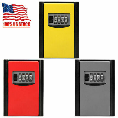 4 Digit Outdoor Security Key Storage Box Combination Password Lock Wall Mounted