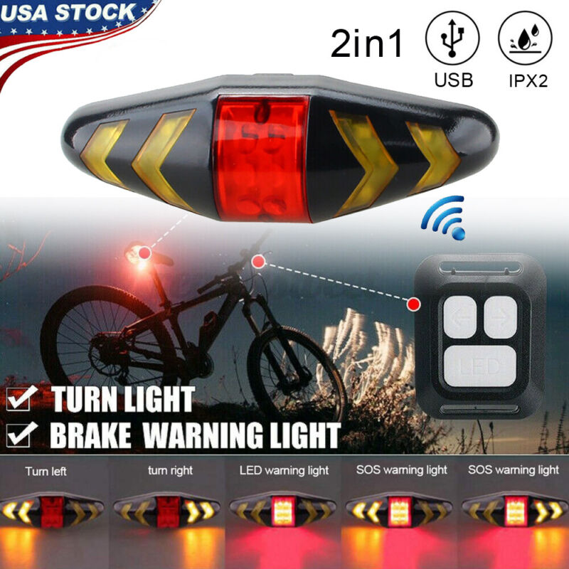 Wireless LED Bicycle Bike Rear Tail Light USB Rechargeable Warning Turn Signal