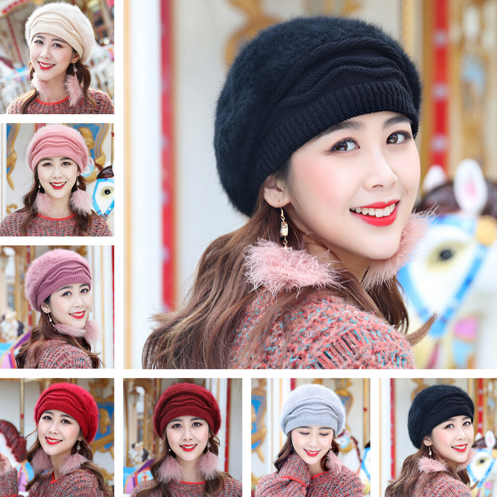 243ed864 Details about Girl's Slouchy Fleece Ladies Beanie Knit Beret Women Slouchy  Baggy Cap Ski Skati