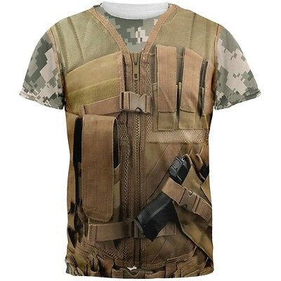 Desert Tactical Military Vest Costume All Over Adult T-Shirt](Desert Costume)