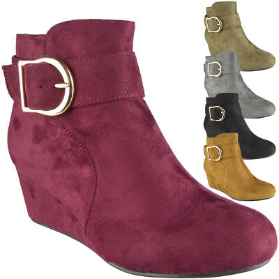 Ladies Ankle Boots Womens Faux Suede Mid Low Heel Wedge Buckle Work Shoes Size