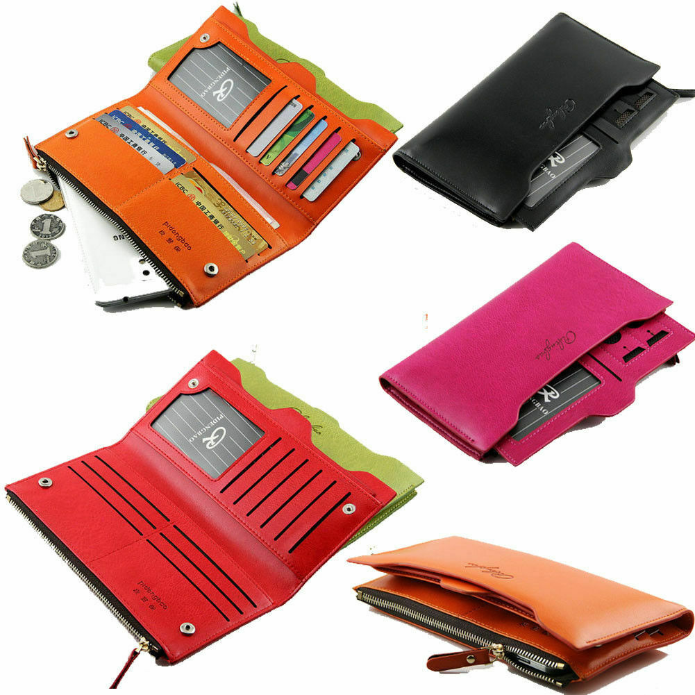 Women Long Leather Thin Wallet Multi ID Credit Card Holder Organizer Purse Gift Clothing, Shoes & Accessories