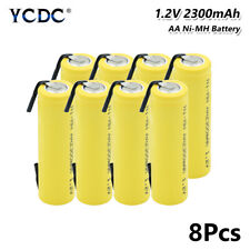 8Pcs 1.2V 2300mAh Ni-MH AA Battery With Tabs Rechargeable For Torch Headlamp EE