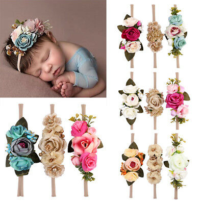 US Beauty 3Pcs Baby Girls Infant Toddler Flower Headband Hair Band Accessories - Baby Flower Headband