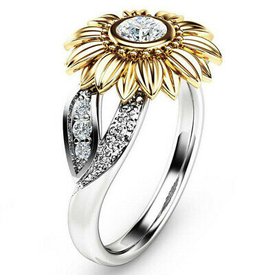 USA Women Sunflower Silver Rose Gold Ring Plated Zircon Promise Wedding (Rings)