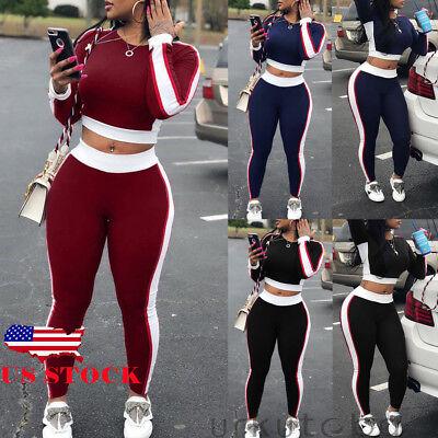 US Women Crop Tops Blouse +Pants Two-piece Playsuit Bodysuit Jumpsuit Romper Set