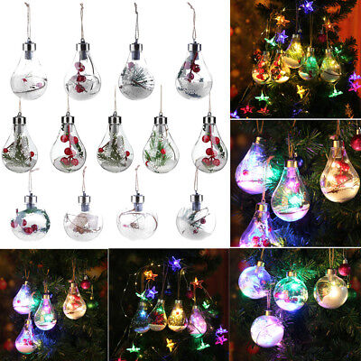 Christmas Tree LED Bulb Snow Ball Baubles Xmas Hanging Ornament Pendant Decor