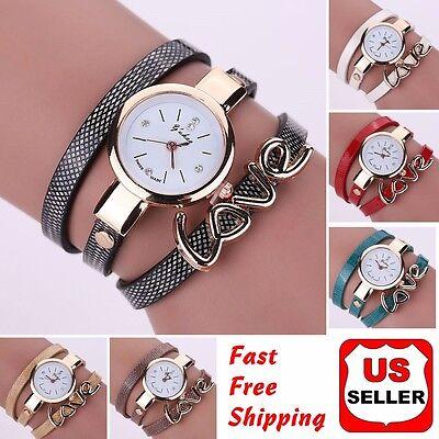 (Fashion Women Faux Leather Crystal Bracelet Ladies Quartz Analog Wrist Watch HOT)