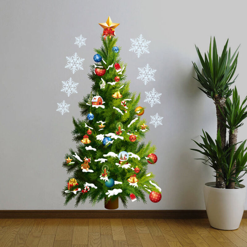 Home Decoration - Christmas Tree Wall Stickers Xmas Art Home Door Shop Window Decor Decals