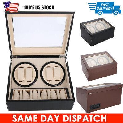 Automatic Watch Winder 4+6 Storage Display Case Box Wooden Luxury Brown Black US