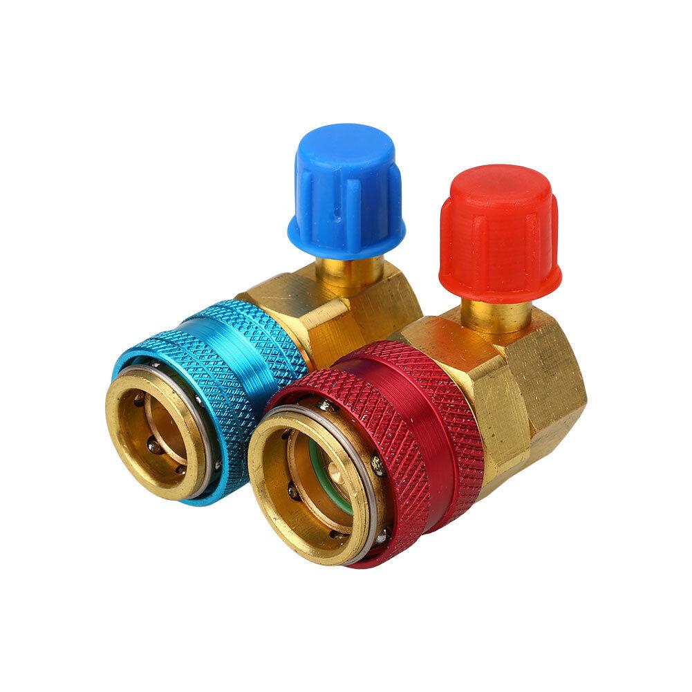 2PCS R134A Quick Connector Adapter Coupler Auto A/C Manifold Gauge Low/High HVAC