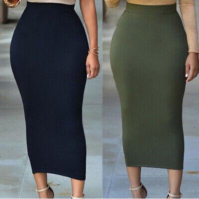 Muslin Thin Skirt Bodycon Slim High Waist Stretch Long Midi Women Pencil -
