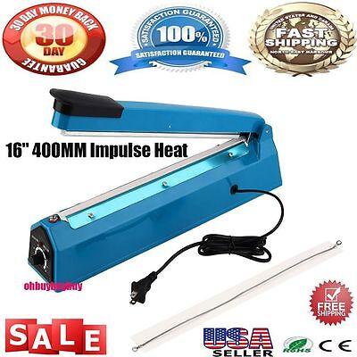 "16"" Hand Sealer Impulse Heat Manual Seal Machine Plastic Poly Bag Closer Kit USA"
