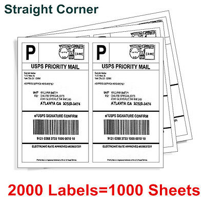 2000 Shipping Labels Half Sheet 8.5x5.5 Blank Self Adhesive For Usps 2sheet