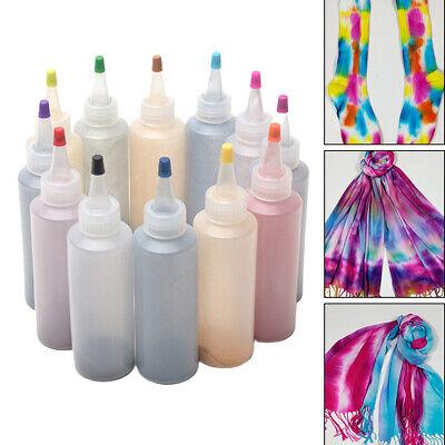 12 Colors Tie Kit Arts Design Fabric Tye Dye Art Craft Textile Paint Tool DIY