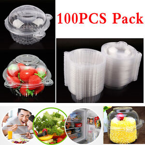 100pcs Individual CupCake Boxes Clear Plastic Single  Muffin Case Pods Domes Hot