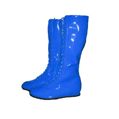 Blue Adult Pro Wrestling Boots WWF WWE Costume Super Hero Mens Shoes Boxing