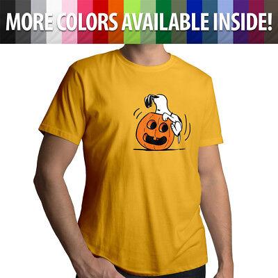 Halloween Snoopy Pumpkin Jack O' Lantern Peanuts Cute Mens Tee Crew Neck T-Shirt (Cartoon Pumpkins Halloween)