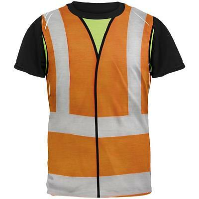 Halloween Road Worker Construction Vest Costume All Over Mens Black Back T Shirt - Road Worker Halloween Costumes