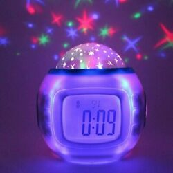 Kids Room Sky Star Night Light LED Projection Lamp Music Alarm Clock Calendar