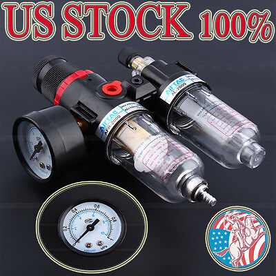 Us Air Compressor Filter Moisture Water Oil Separator Trap Tools Regulator Gauge