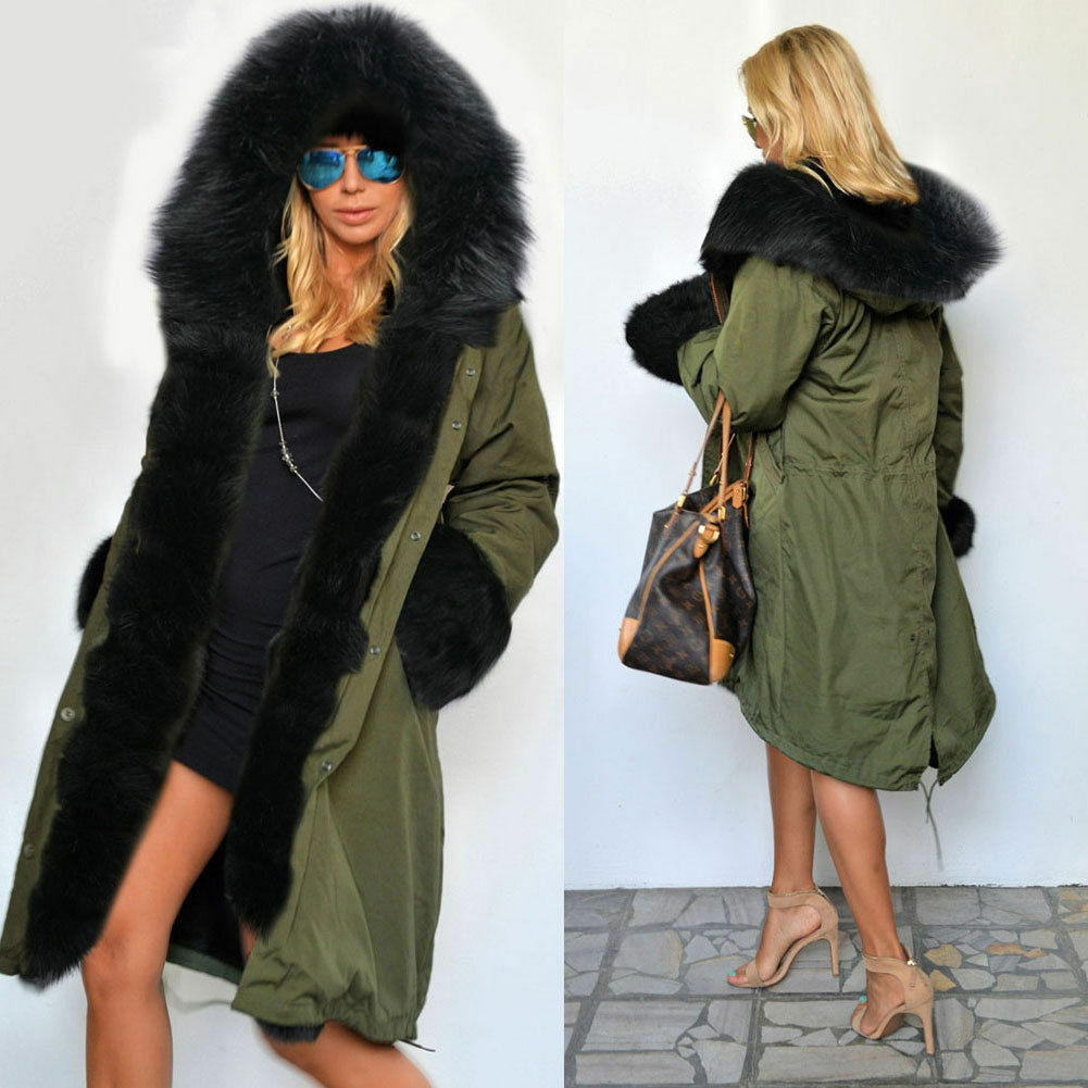 Luxury Women Faux Fur Coat Casual Hood Parka Ladies Long Trench ...