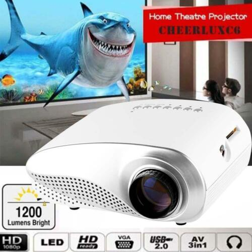 Mini 1080P 3D HD LED Projector Multimedia Home Theater USB VGA HDMI White EU BG