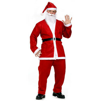 Economy Santa Suit - Jacket, Pants, Hat, Beard & Belt - Holiday Party Pub Crawl