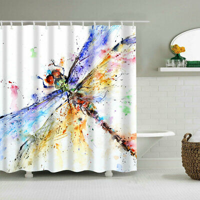 Shower Curtain Set Dragonfly Artwork Abstract Oil Painting Art Print Curtains