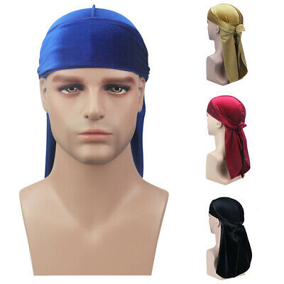 Men Women Velvet Silky Durag Hat Bandanna Turban Long Tail Pirate Cap Headwear - Long Tail Jacket